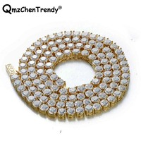 Top Quality Bling Iced Out 1Row CZ Tennis Chain Men's Hip hop Necklace Golden Silver Copper Jewelry 18/20/24/30 Inch