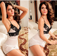 Free Shopping! 2016 New High Quality white sexy lingerie lady's lace slips dress M-XL-XXL