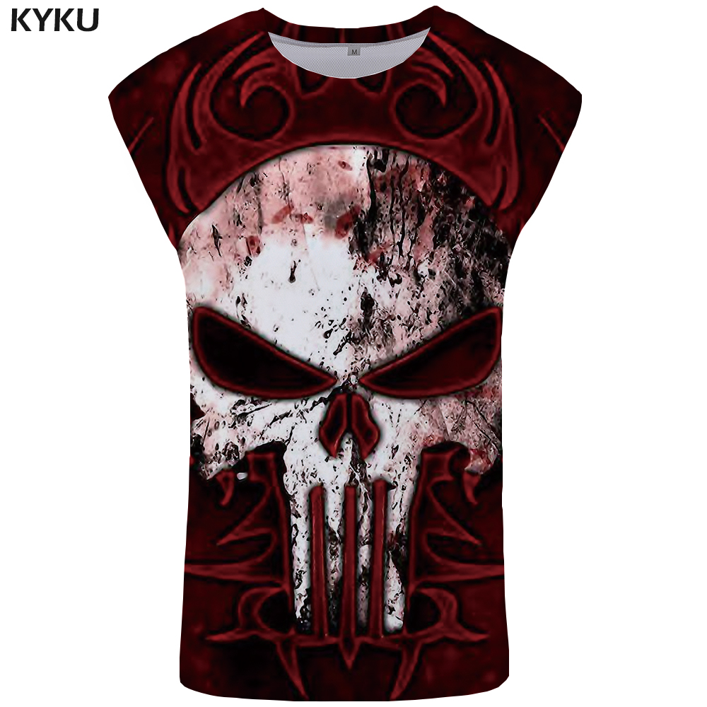 KYKU Brand Skull   Tank     Top   Men Punisher Vest Red Ftness Clothing Hip Hop Mens Bodybuilding Singlet Stringer Sleeveless Shirt