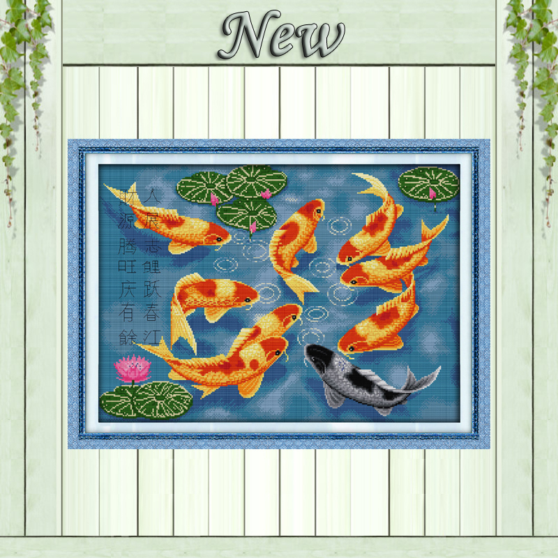 Surplus year after year fishes painting Decor Counted Print on canvas Needlework Sets embroidery DMC 11CT 14CT Cross Stitch kitsSurplus year after year fishes painting Decor Counted Print on canvas Needlework Sets embroidery DMC 11CT 14CT Cross Stitch kits