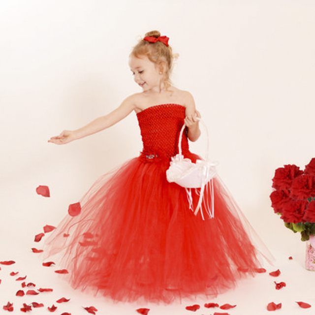 4b7cf106f7f Elegant Girls Valentines Tutu Dresses Full Length Kids Red Prom Ball Gown  Holiday Outfit Carnival Tutu Dress Baby Girl Clothes