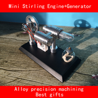 Double cylinder alloy Precision machining mini stirling engine+Generator with LED Laboratory simulation best gifts