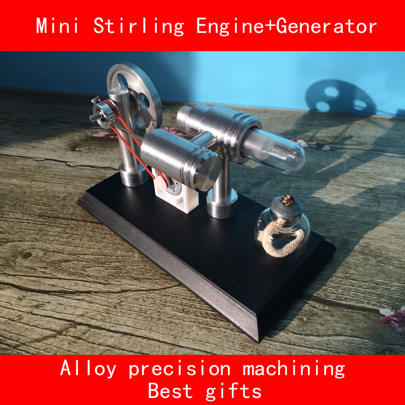 Double cylinder alloy Precision machining mini stirling engine+Generator with LED Laboratory simulation best gifts horizontal double cylinder steam engine model