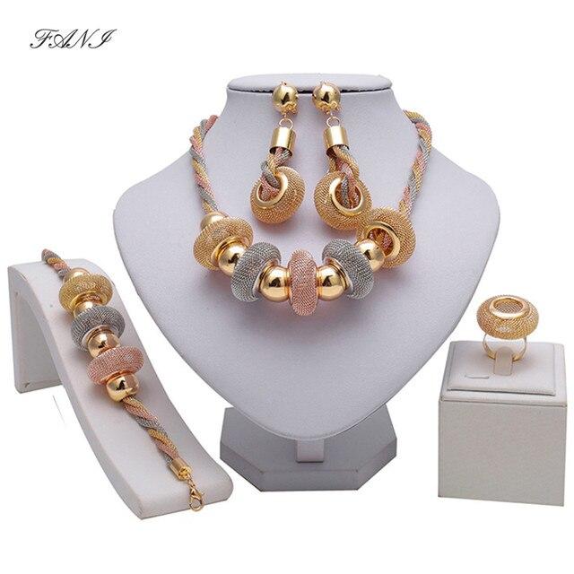 Fani מעולה סט תכשיטים צבעוני זהב דובאי כלה ניגרית אשת אבזרים סט תכשיטי חרוזים אפריקאים סט תלבושות