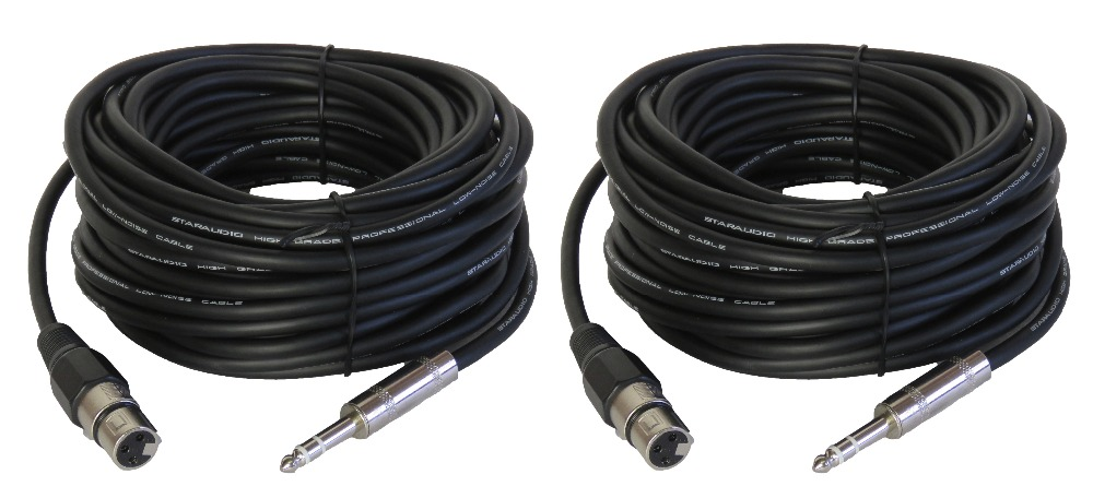 """5 x 15FT XLR 3Pin Male to 1//4/"""" Mono Plug Mic Microphone Audio Cable Lot 15/' Foot"""