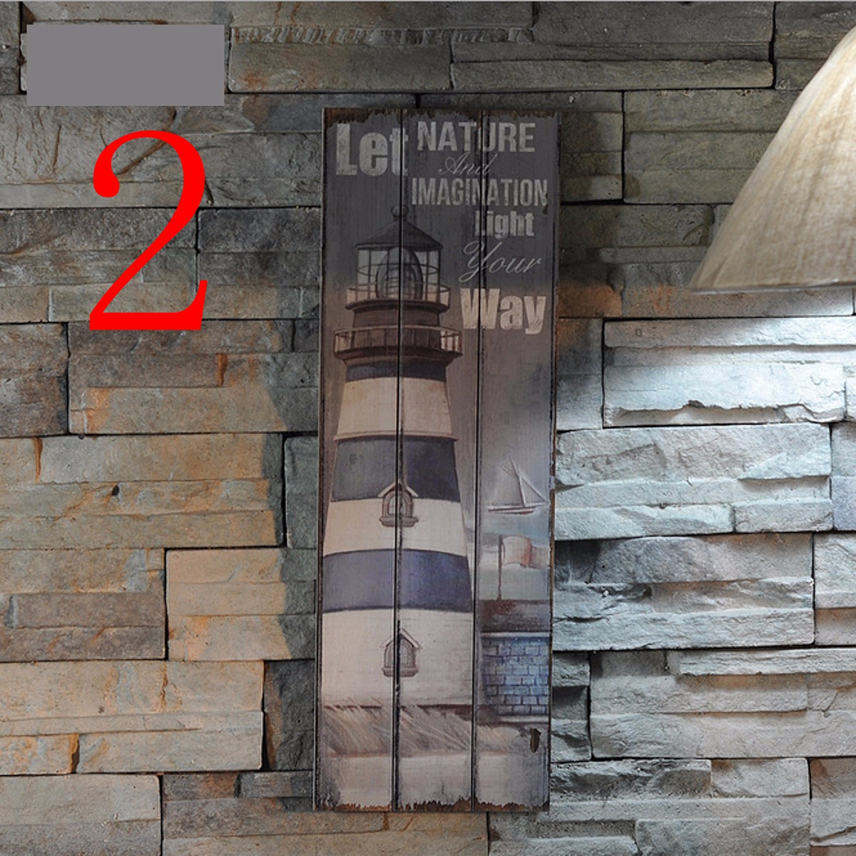 Us 18 79 Rustic Wooden Sign Plaque Wall Art Picture Nautical Decor Anchor Lighthouse Design For Home Bar Decor Wood Crafts 20cm X 60cm In Figurines