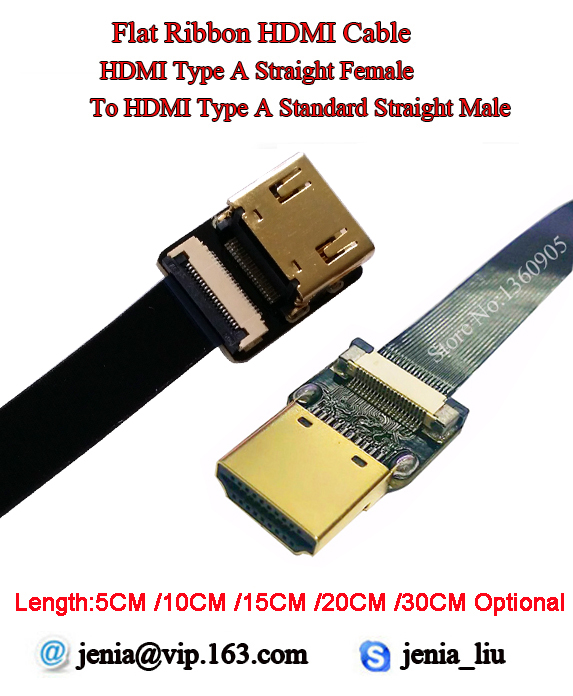 5/10/15/20/30CM Thin HDMI Cable Type A Straight Female To HDMI Type A Straight Male Ribbon Flat Cable HDMI Soft Super Cable FPV