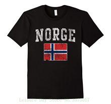 Norge Bandeira De Noruega Norueguês do vintage Camisa Casual Plus Size Tops Tee  Camisetas Hip Hop f08b24014f274