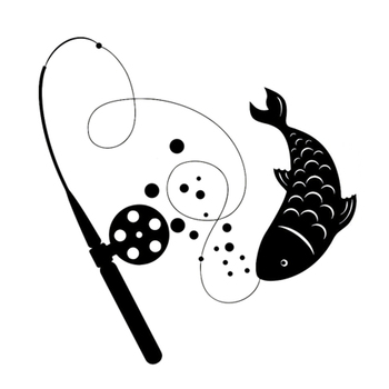 15.8CM*16.3CM Interesting Fishing Rod Animal Catch Vinyl Stickers Decal S9-0700 image