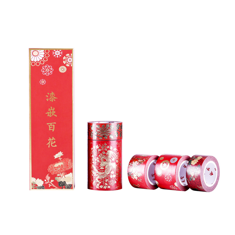 Chinese Red Masking Washi Tape 5rolls/set Decoration Adhesive Tape for DIY Gift Card Scrapbook Planner Makeup Decoration 3pcs box ancient chinese famous painting calligraphy peotry retro wooden box decoration washi diy planner scrapbook masking tape