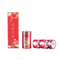 Chinese Red Masking Washi Tape 5rolls/set Decoration Adhesive Tape for DIY Gift Card Scrapbook Planner Makeup Decoration