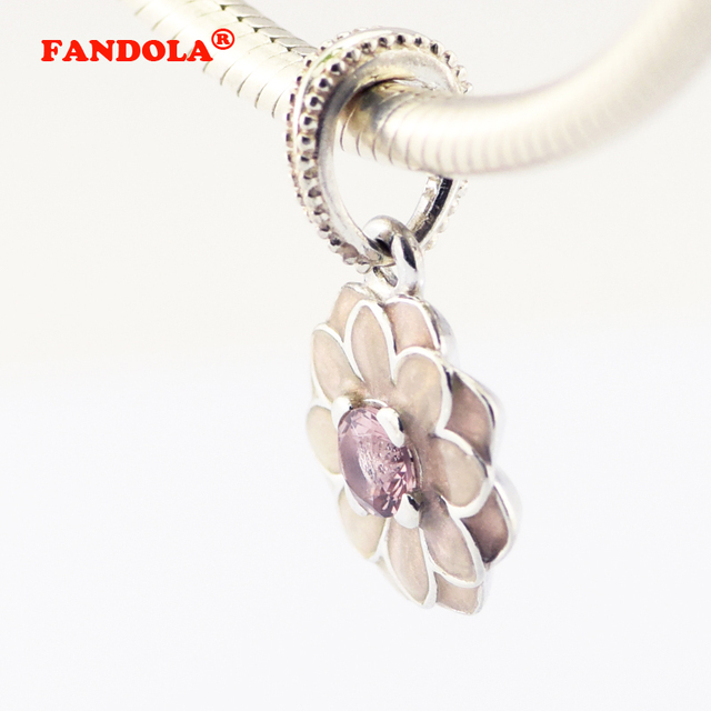 d36c28055 Fit Pandora Charms Bracelets Poetic Blooming Dahlia Beads with Cream Enamel  and Pink Crystal 925 Sterling Silver Jewelry