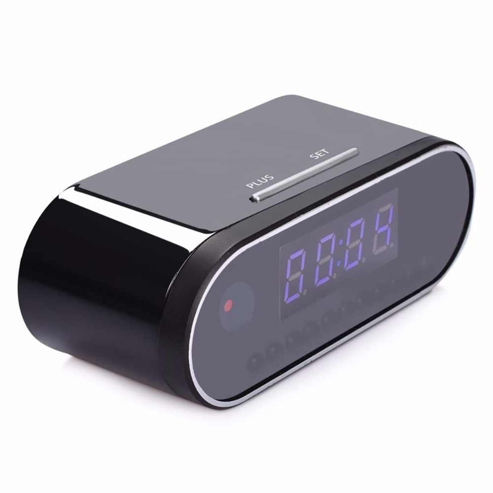 لاسلكي ساعة الطاولة 1080P HD كاميرا صغيرة إنذار إعداد كاميرا الأشعة تحت الحمراء للرؤية الليلية واي فاي ساعة الكاميرا مسجل فيديو رقمي صغير كاميرا التطبيق عن بعد