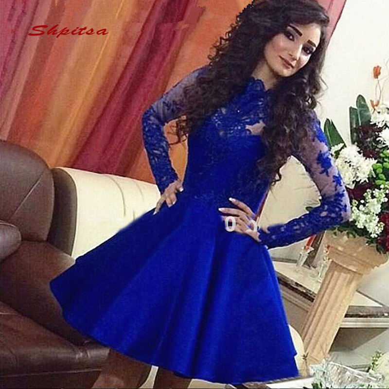 Long Sleeve Short   Cocktail     Dresses   Party Satin Lace Graduation Women Prom Plus Size Coctail Mini Semi Formal   Dresses