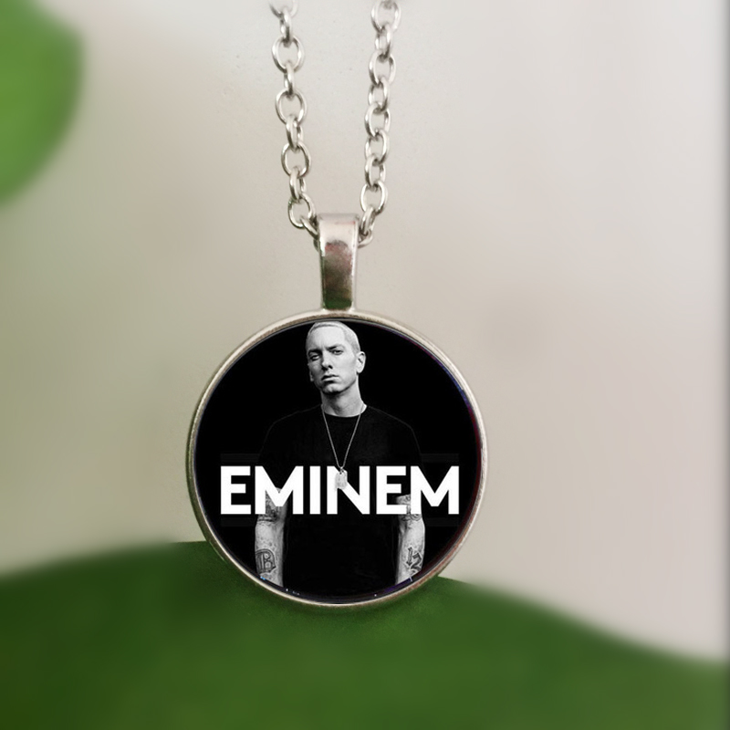 WUSQWSC 3 Color Eminem Crystal Glass Pendant Necklace Women Men Gift Jewelry