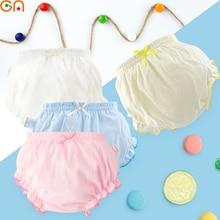 Детские трусы из хлопка для маленьких девочек; Милые однотонные шорты с рюшами и бантом для маленьких девочек; трусы для детей; подарки; CN