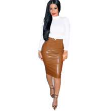 High Quality Skirts Faux Leather New Fall Fashion leather High waist Women Skirts Gloss Kardashian 2017 W880673
