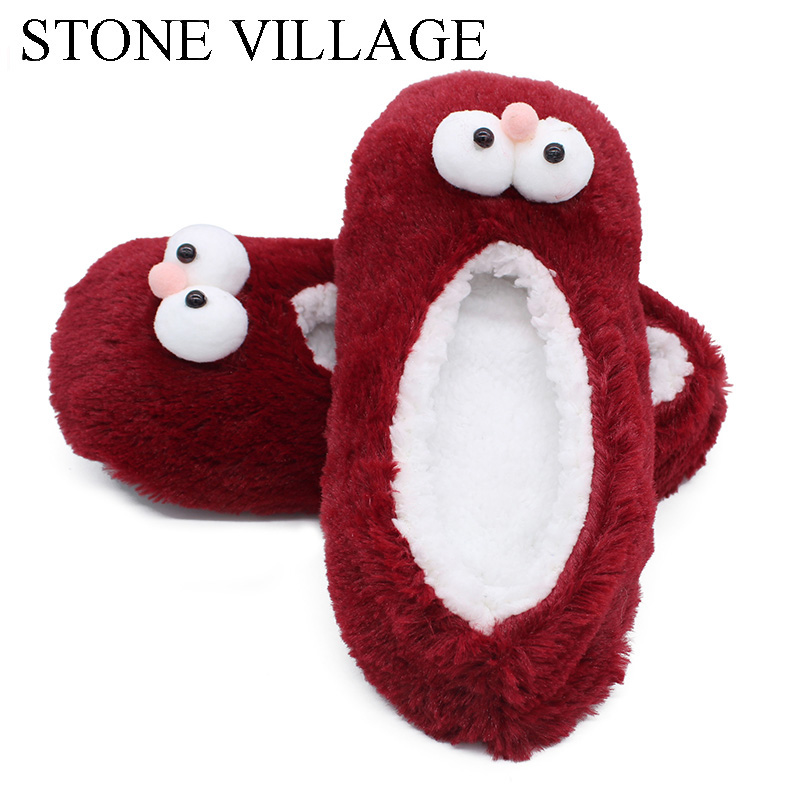 Stone Village Novelty Fun Cartoon Cotton Home Slippers Women Indoor Soft Plush Slippers Christmas Slippers Shoes Women One Size Slippers Women's Shoes