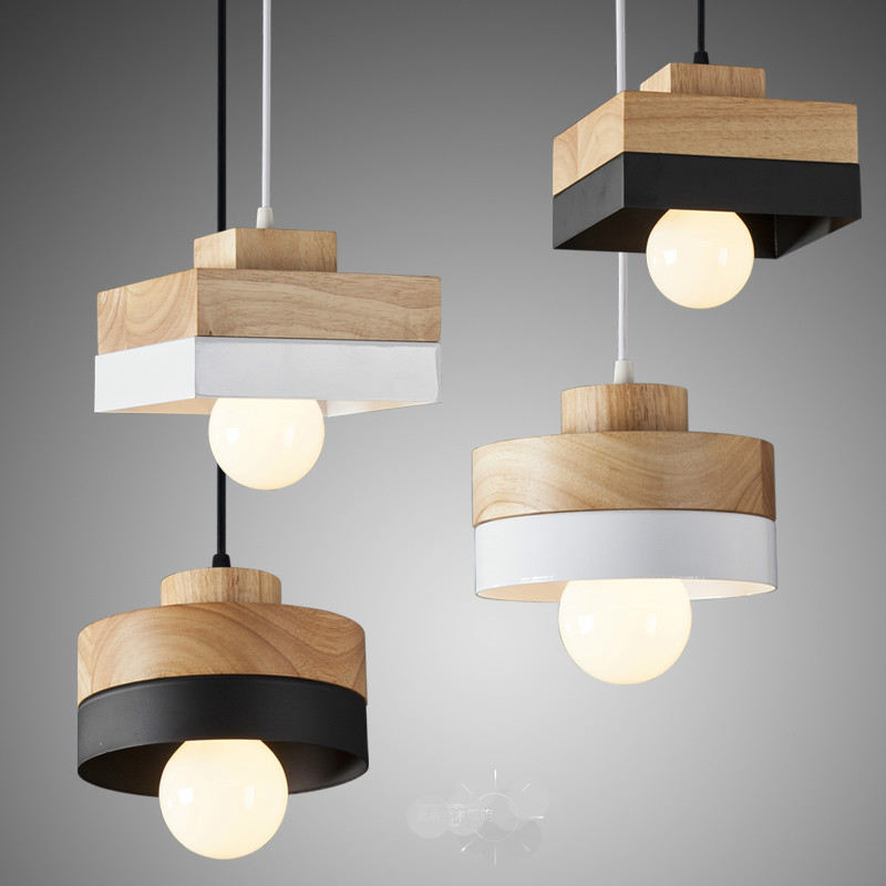 New Modern Nordic Minimalist Round/square Wood Aluminum Led 27 Pendant Light For Dining Room Living Room Bedside Bar Deco 1882 modern nordic 7 colors carved aluminum wood geometric led e27 pendant light for dining room living room bar deco ac 80 265v 1143