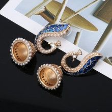 Ethnic Indian Gold Pearl Blue Peacock Drop Earrings For Wome