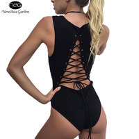 Sleeveless Backless Tie Back Snap Buttons Lace Up Women S Bodysuits Summer Spring Cotton Playsuits Jumpsuits