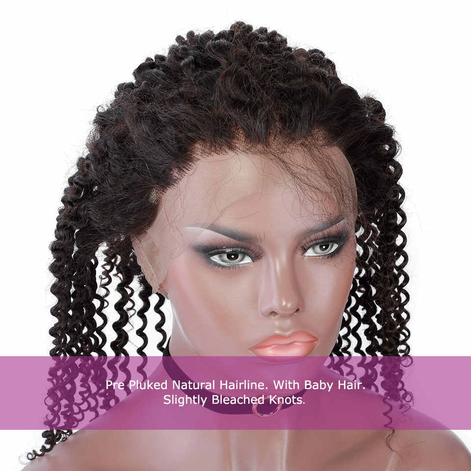 YVONNE Kinky Curly 360 Lace Frontal Pre Plucked with Baby Hair 100% Brazilian Virgin Lace Frontal Human Hair