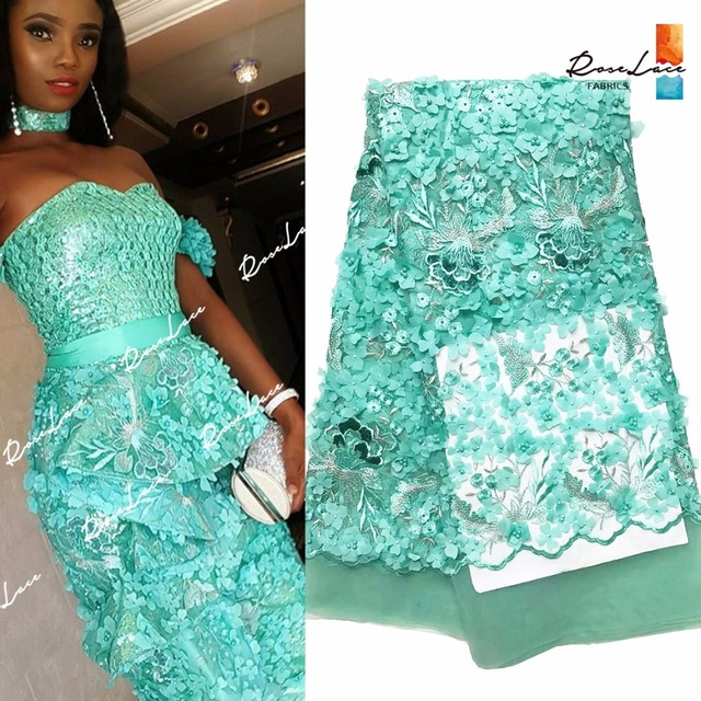 New Design 3D Flower Applique Embroidered Mesh Net Lace With Beads In Green  African India Evening 15130c39d303