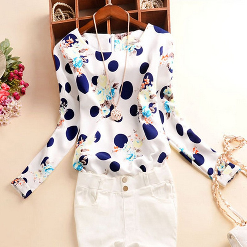 Fashion Long Sleeve Blouse Women Polka Dot Floral Printed Tops Casual Chiffon Shirts Blusas