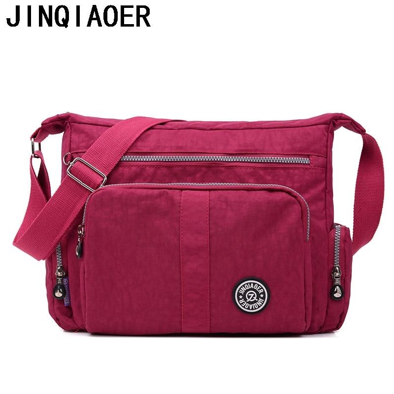 цены на JINQIAOER Shoulder Bags For Women Waterproof Nylon Female Messenger Bags Tote Handbag Casual Clutch Travel Crossbody Bags в интернет-магазинах