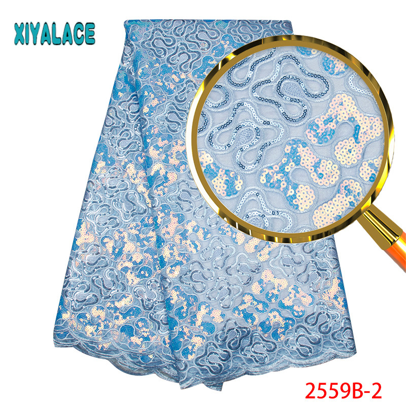 Latest French Lace Fabric 2019 Organza Lace Fabric High Quality African Party Lace Fabric With Sequins