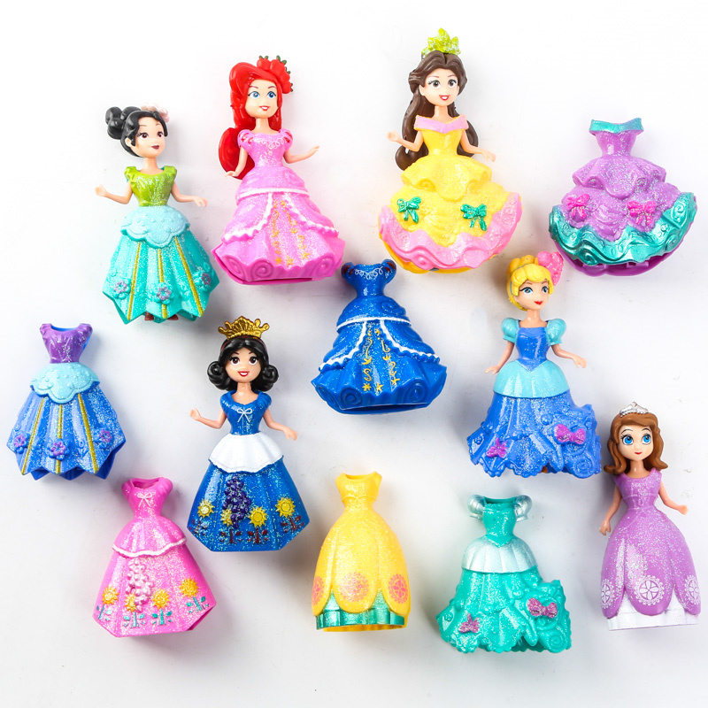 Magiclip Princesses Cinderella Magic Clip Dress Anime PVC Action Figures Sofia Statue Dolls Figurines Kids Toys for Children 6pcs set disney trolls dolls action figures toys popular anime cartoon the good luck trolls dolls pvc toys for children gift