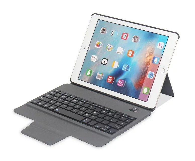 Integrated Slim Wireless Bluetooth Keyboard Case Cover for Apple iPad 9.7 2017/2018 5th/6th A1822 A1823 A1893 A195 with Film