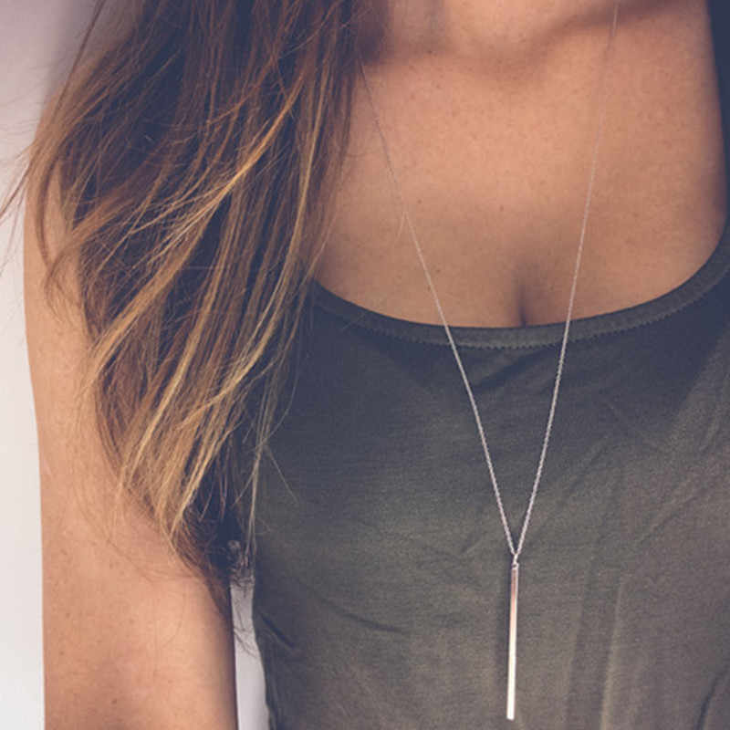 Classic Simple fashion Stick Pendant Necklace Hollow Girl Long Link Copper Chain Necklaces Long Strip Jewelry for women