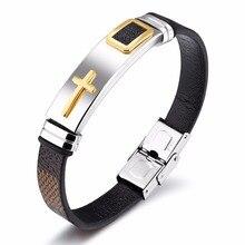 Плетеный кожаный браслет для мужчин 8 мм ширина ремешка из нержавеющей стали Длина логотипа изменяемый мужской браслет ручной работы браслеты PH1156