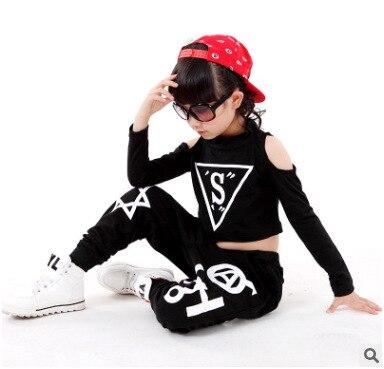 Children hip-hop Dance costume Girl Boys Black Jazz Hiphop Dance Outfit Long sleeve Dancewear
