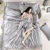 Luxury Classic Silk 4Pcs Bedding Set 1 Flat Sheet 1 Duvet Cover 1 Pillowcases