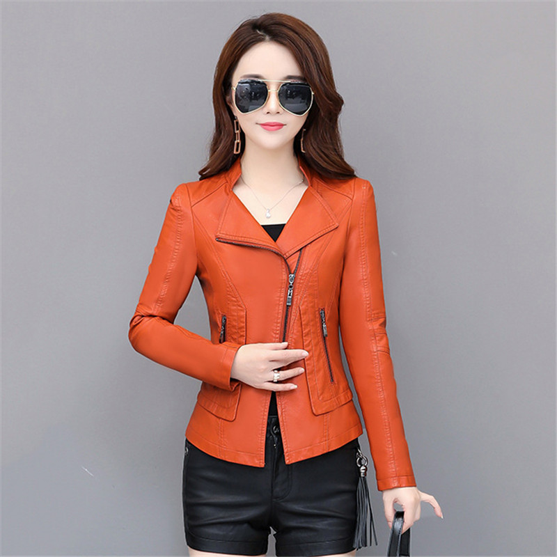 Leather   Coat Women 2019 New Spring Autumn Korean Short Slim Black Green Orange XL 3XL 4XL Plus Size Long Sleeve PU Jacket LD1074