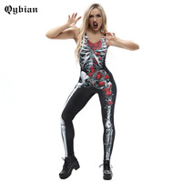 Qybian Halloween Party Cosplay Bodysuits Rose Skeleton Jumpsuit Women Halloween Costume Sleeveless Jumpsuits
