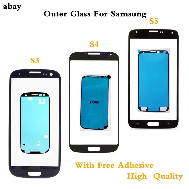 For Samsung Galaxy S3 I9300 I9305 I9300i I9301 I9301i S4 I9500 I9505 I337 S5 Front Panel Lens Outer Glass LCD Display + Adhesive