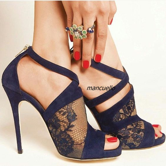 Elegant Black Lace Cross Strap Sandals Sexy Lace Cut-out Peep Toe Stiletto Heel Dress Sandals Back Zip Fashion Party Shoes