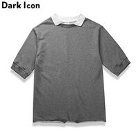 DARKICON Turn Down Collar Terry Material Half Sleeve Men S T Shirt Solid Color Hip Hop