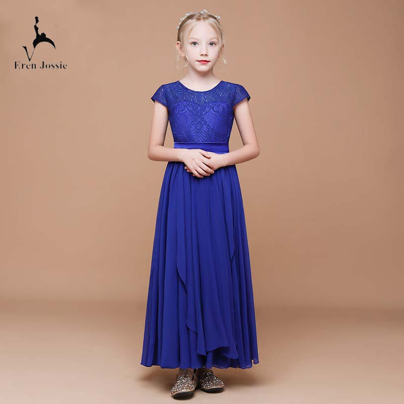 Eren Jossie 2019 Factory Directly Sell Pretty Girls' Royal Blue Lace Dress Birthday Party Ankle Length Style Child Chiffon Dress