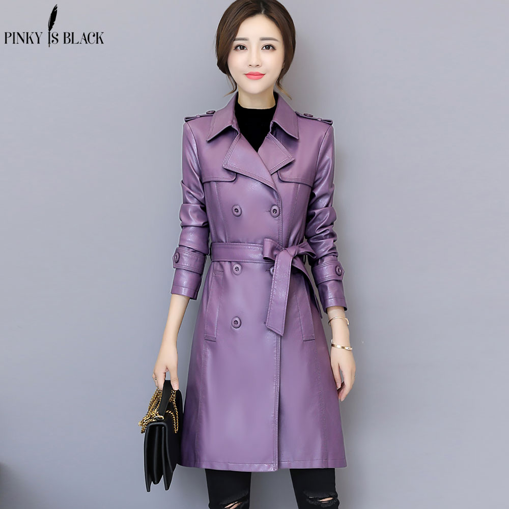 PinkyIsblack New Autumn Winter Jacket Womens Motorcycle Jacket Faux   Leather   Jacket Women Double Breast Slim Long Trench PU Coat