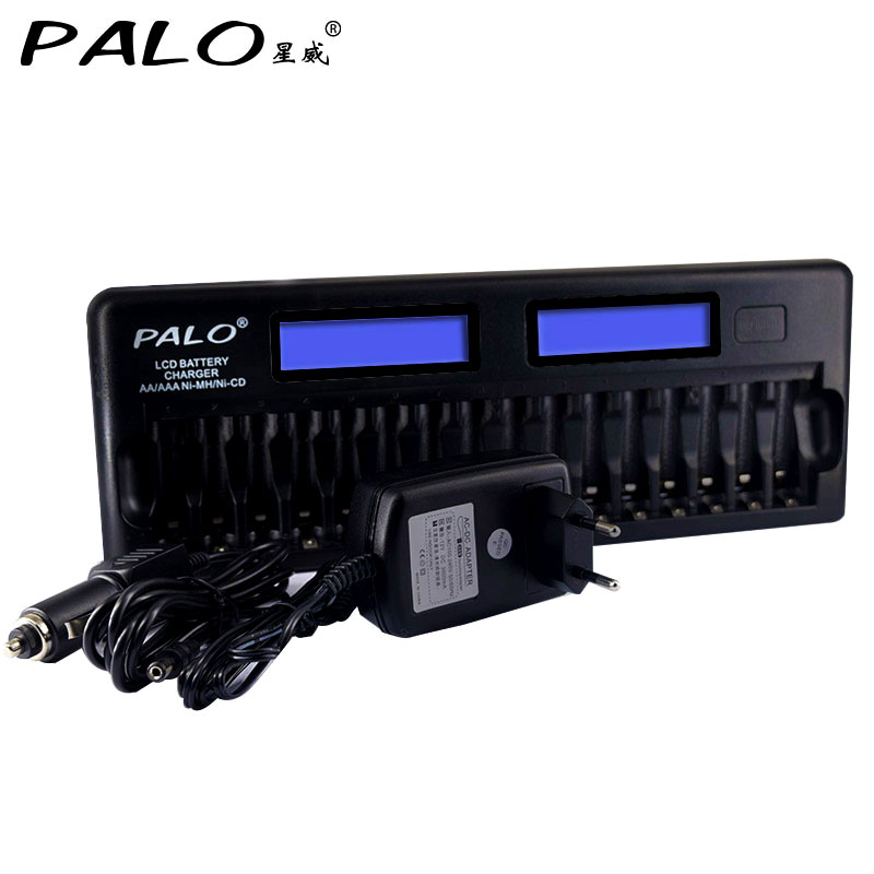 PALO 16 slots Intelligent fast battery charger for AA/AAA NI-MH NI-CD Rechargeable Batteries Use gp gpkb02gw2a 2 x aa aaa battery charger w 2 x aa rechargeable 1300mah batteries white