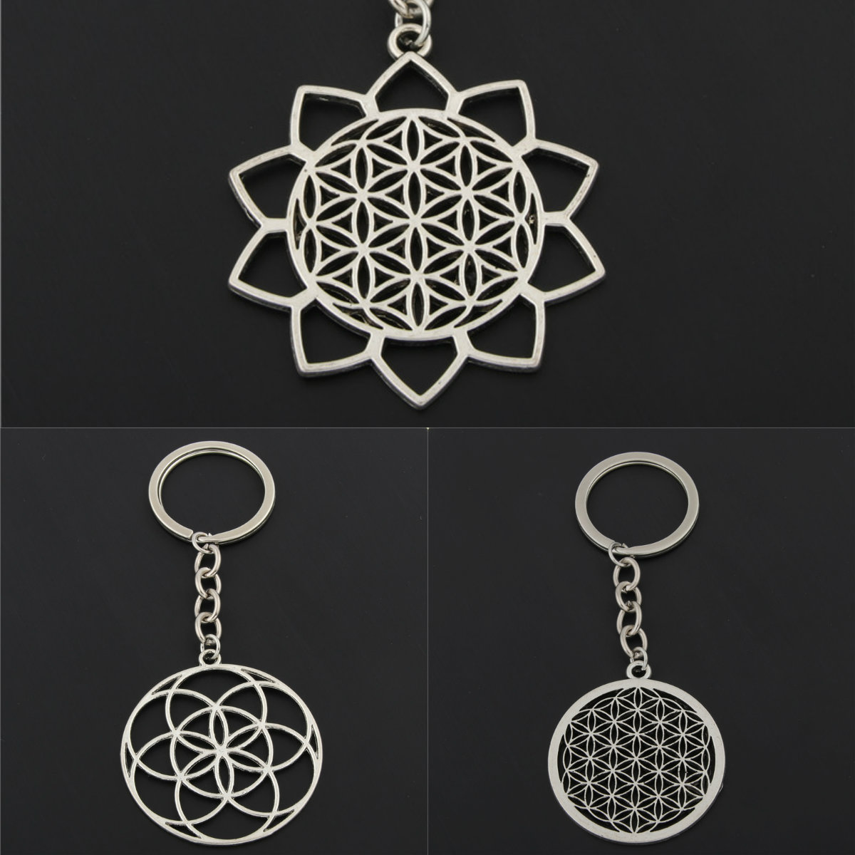 1pc Seed Of Life Charms Flower Of Life Keychains For Women Bag Charms Geometric Charms With Chain DIY Jewelry