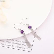 gemstone fine jewelry manufacturer fashionable 925 sterling silver natural purplecrystal amethyst pendant earrings for women цена 2017