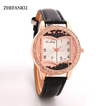 New Fashion Leather Gold Sand Flow Quartz Watch Luxury Women Rhinestone Watches Valentine Gift Ladies Book Dial Dress Watches