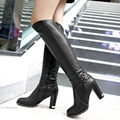 Winter Warm Faux Fur Women Knee High Boots Soft Leather Fashion Side Zippers New Female Thick Heel Tall Boots Shoes Plus Size