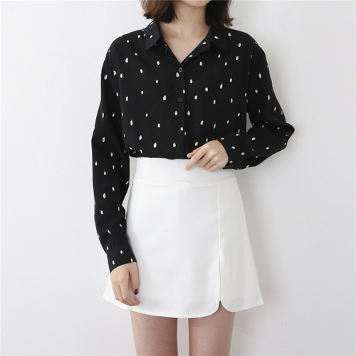 bcd2112e86f0dd TingYiLi Dot Print Black Shirt Autumn Spring Long Sleeve Feminine Blouse  Korean Elegant Women Tops