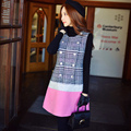 Dabuwawa winter black white plaid woolen dress